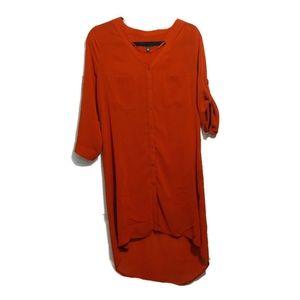 Le Chateau Burnt Orange Sheer Button Down Dress